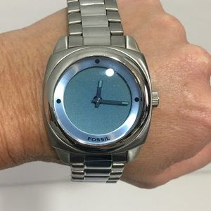 Men's Fossil Watch Silver with Blue Face